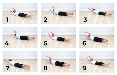 9 photo sequence of a log roll core exercise