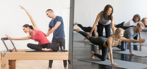 Pilates group class and Pilates Private training session comparison, where you will not get the full attention of the teacher.