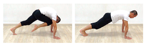 2 photo sequence of plank knee to nose exercise