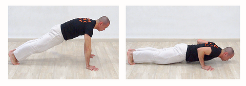 2 photo sequence of doing push up exercise