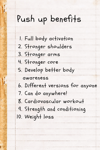 Benefits of push up exercise written by UMove teachers