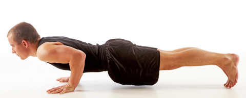 Push up at the bottom position to demonstrate the negative portion of the movement