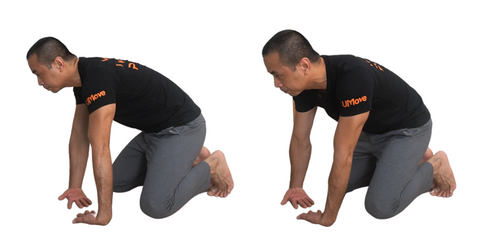 wrist flexion stretch fingers pointing inside side to side rock