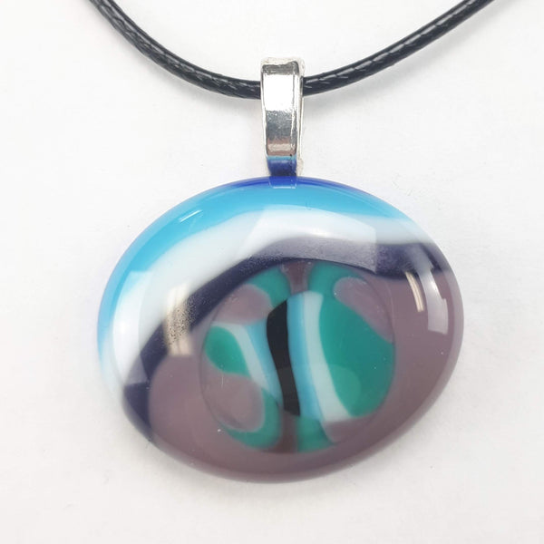 Purple, Blue, Teal & White oval pendant on white background