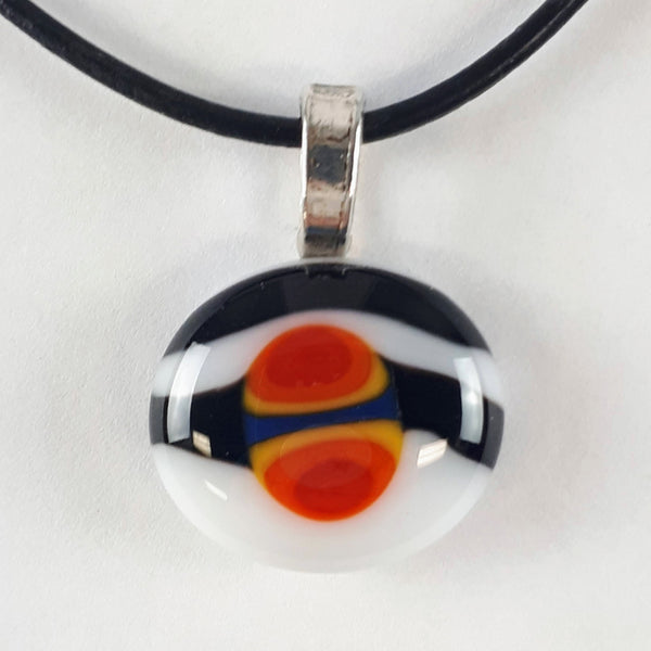 Black, White, Red, Orange, Yellow and Blue Glass Fused Pendant