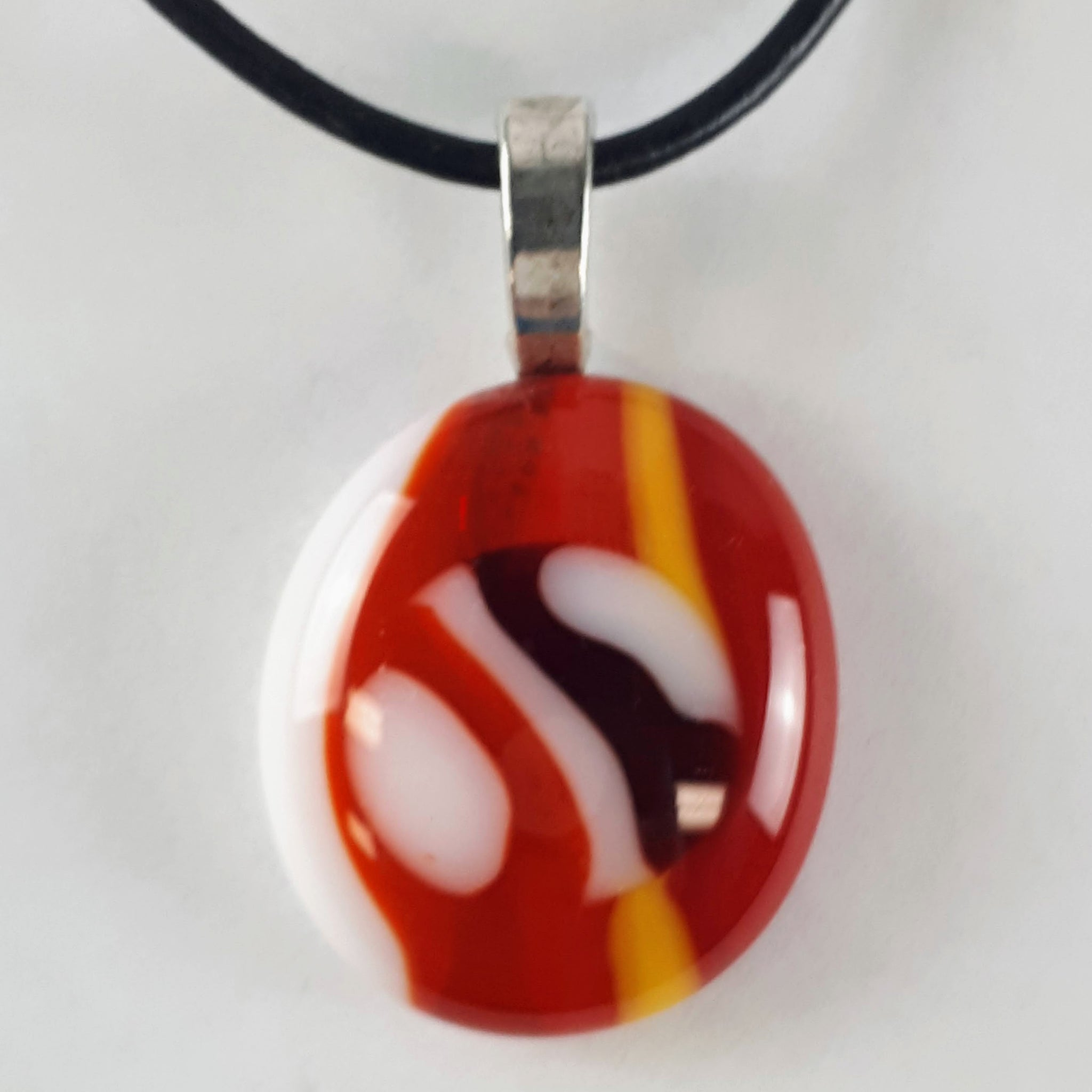 Red, Orange, Yellow, and White Glass Fused Pendant