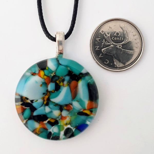 Colourful Round Glass Pendant | Coral Reef Collection