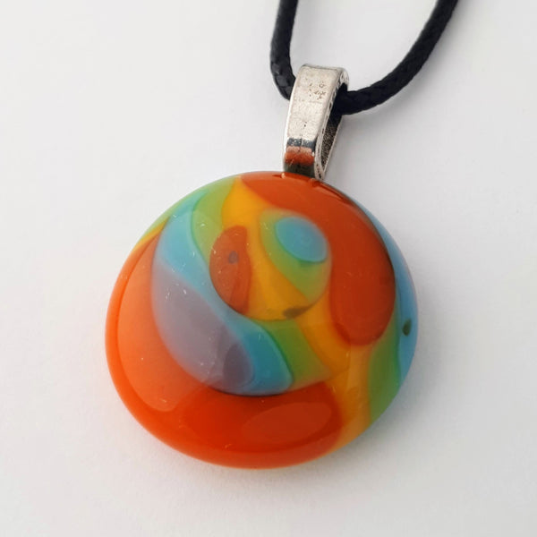 Colourful Round Glass Pendant | Rainbow Collection
