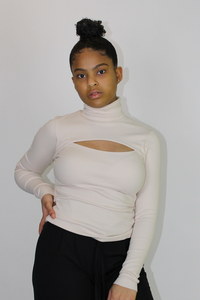 Cream Cut-out Turtleneck