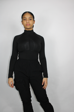 Load image into Gallery viewer, Black Quarter-Zip Bodysuit