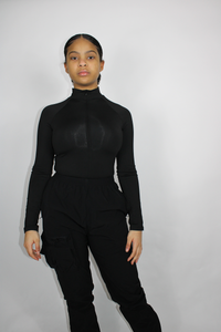 Black Quarter-Zip Bodysuit