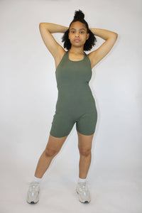 Army Green Ribbed Halter Playsuit