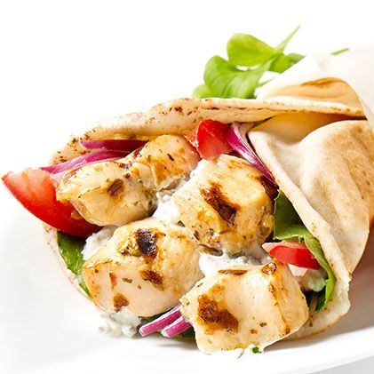 Chicken Souvlaki in Pita Bread