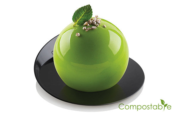 Set compostable black trays - round ø86 MM 25 pz - Pianeta Dessert Shop