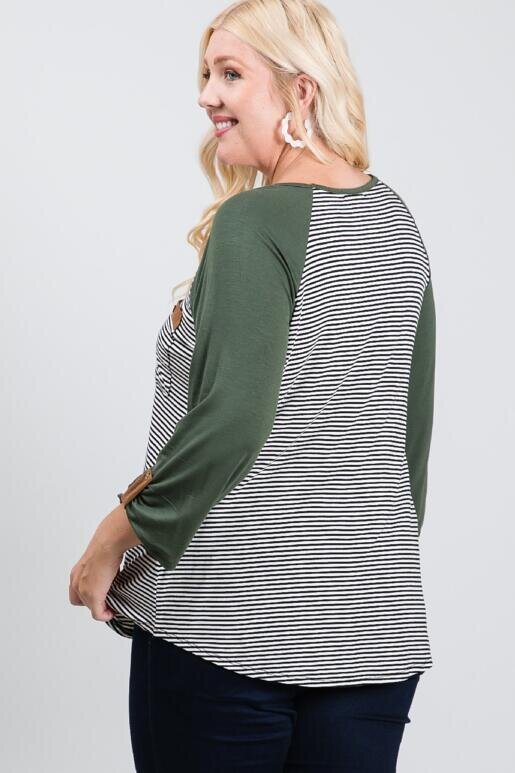 I'll Always Olive You Three-Quarter Sleeve Top Extended Sizing