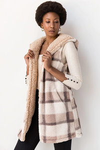 All The Feels Reversible Hooded Plaid Sherpa Vest