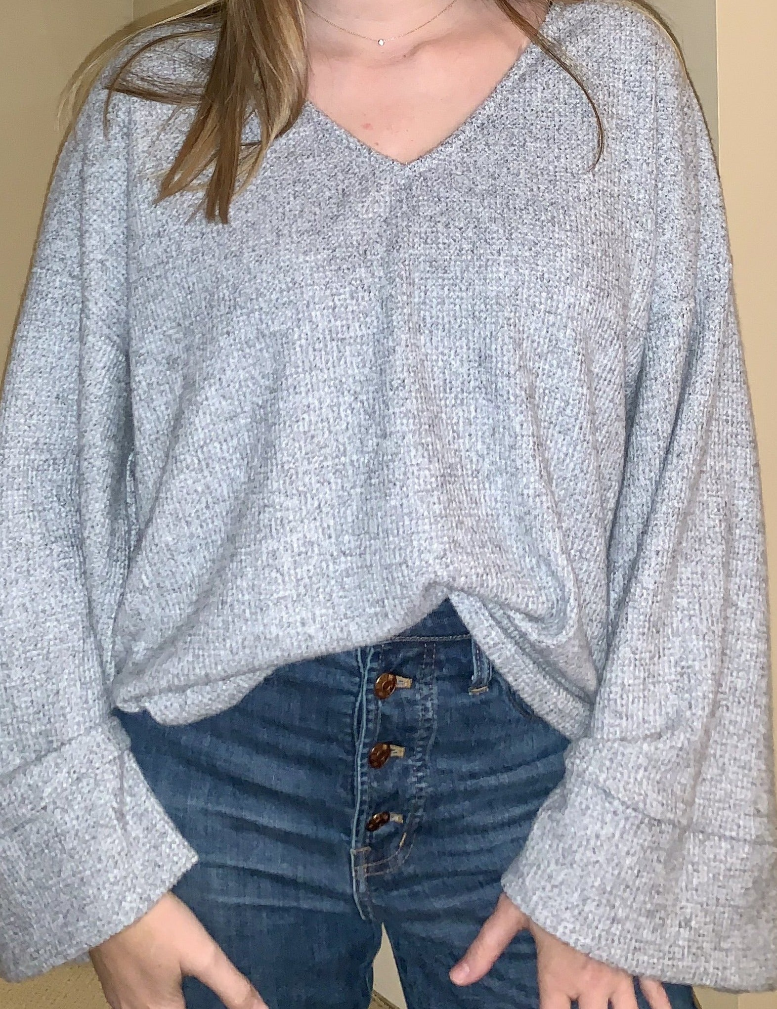 Grey Belle Sleeve Sweater