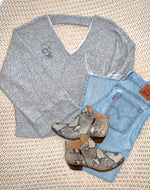 Load image into Gallery viewer, Grey Belle Sleeve Sweater