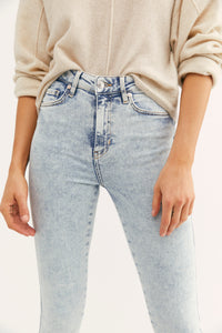 Free People Raw Hem Acid Wash High Rise Jegging