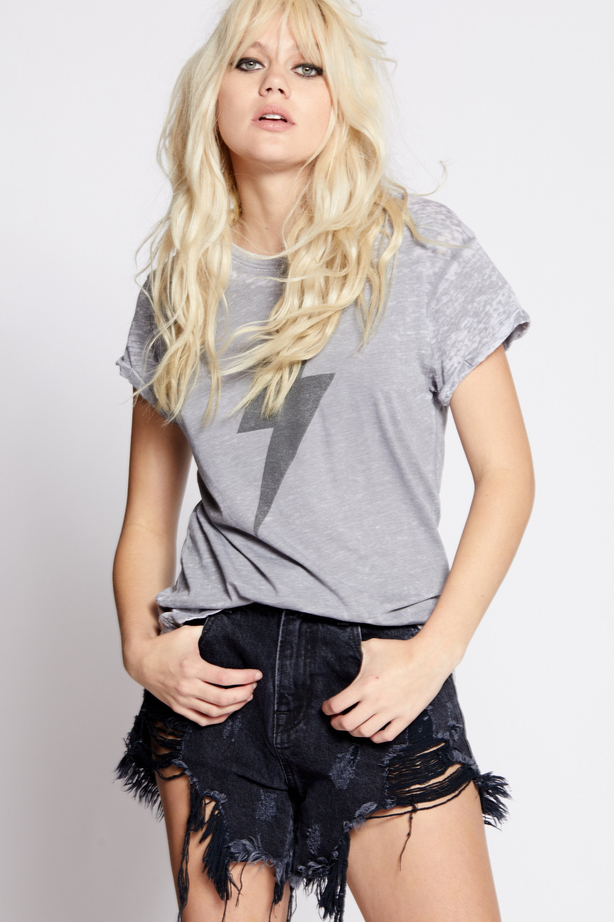 ACDC Thunderbolt Distressed Burnout Tee