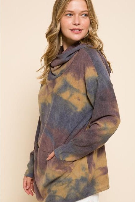 After Dusk Hooded Cowl Neck Pullover