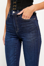 Load image into Gallery viewer, Free People Raw Hem Dark Wash High Rise Jegging