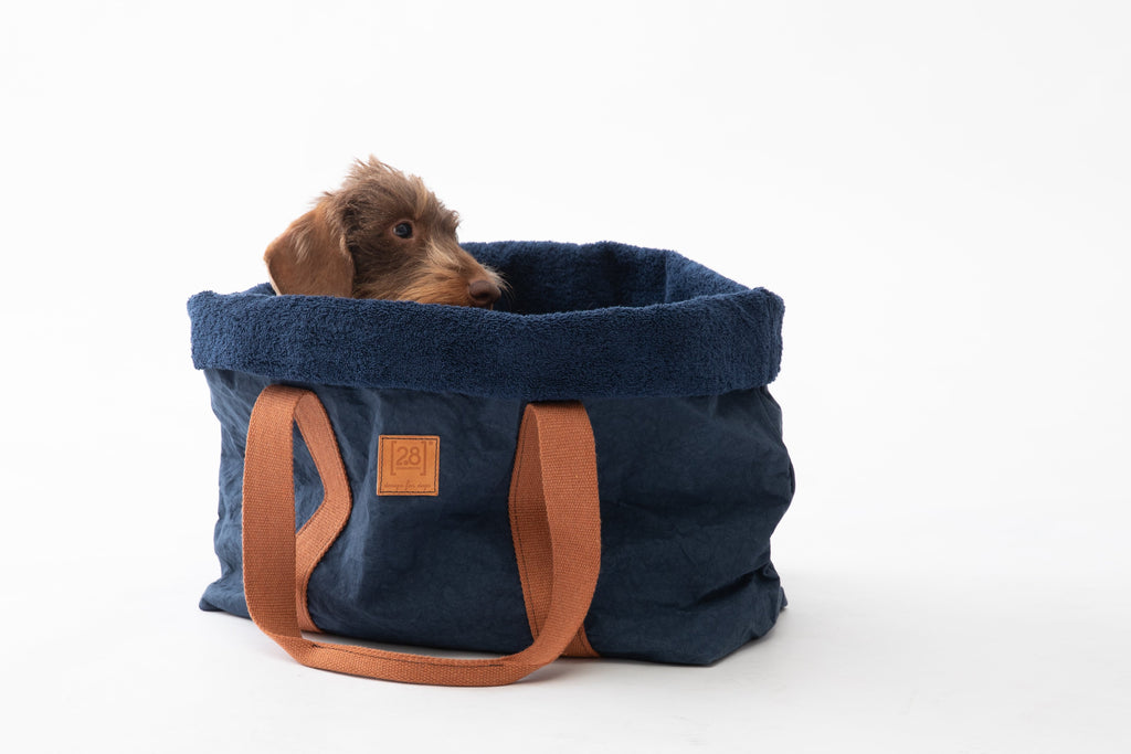Duepuntootto Navy Blue Cellulose Fiber Dorothea Summer Dog Bag
