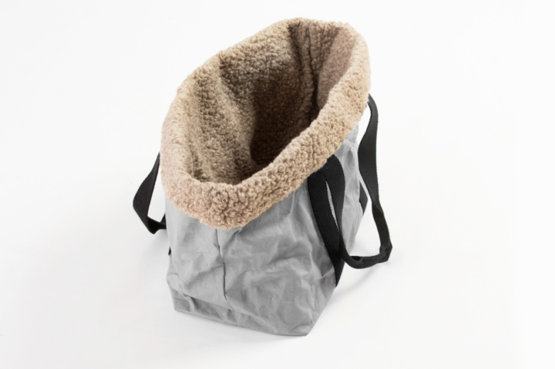 Duepuntootto Light Grey Cellulose Fiber Dorothea City Dog Bag - Nero & Sofia