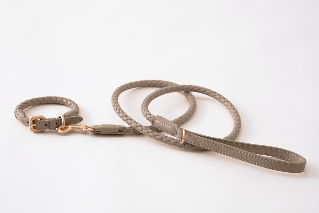 Duepuntootto Lazy Taupe Ferdinando Dog Leash Italian Braided Leather