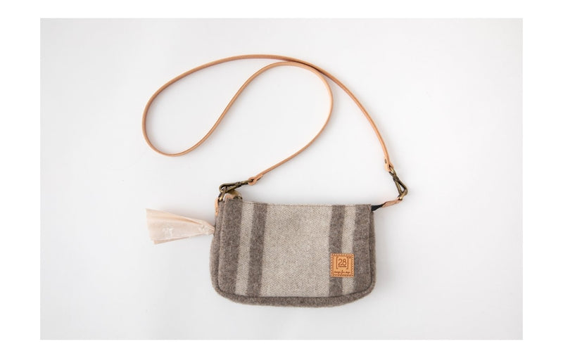 Duepuntootto Inge Mini Pochette White Stripes Recycled Wool