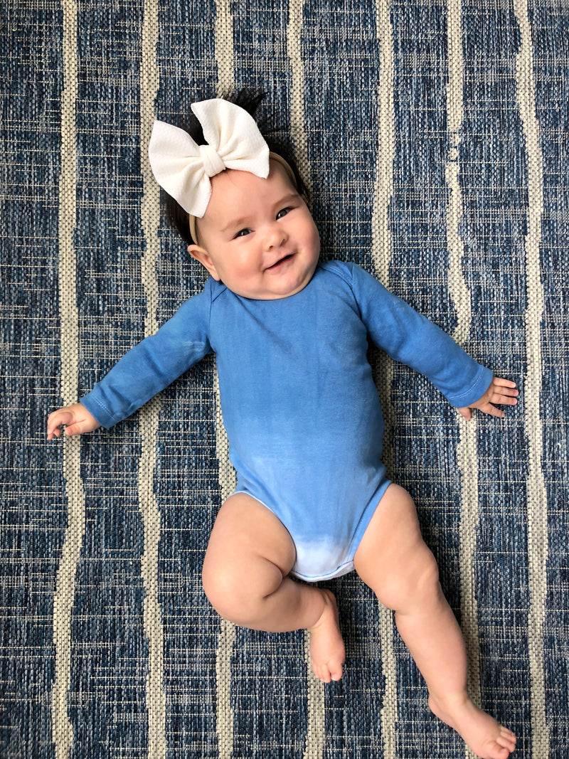 Baby Long Sleeve Indigo Onesie