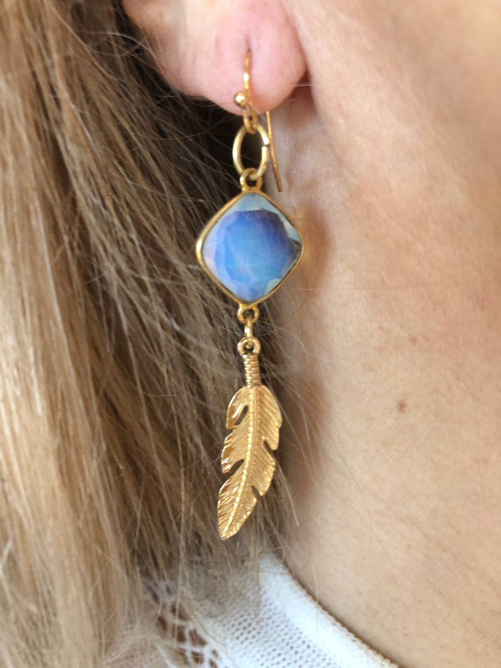 Moonstone & Feather Drop Earrings