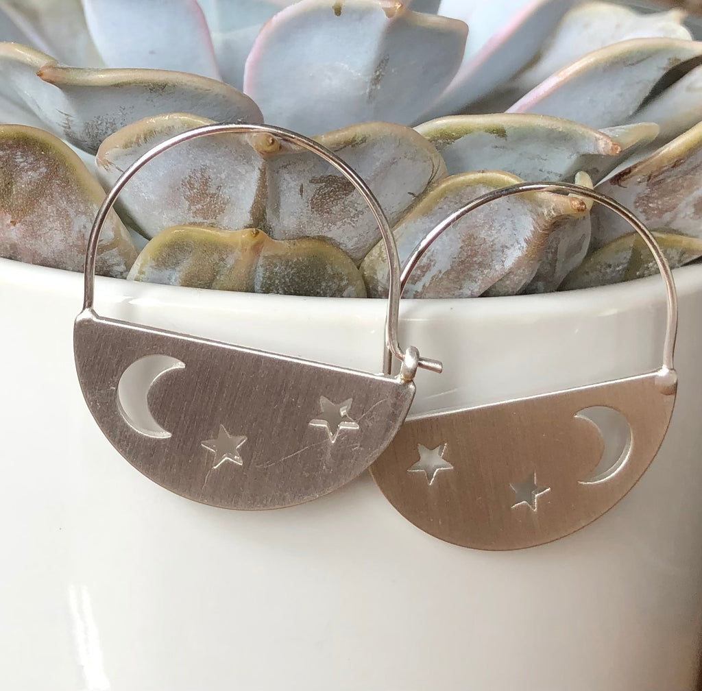 Moon Star Cut Out Earrings