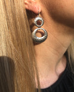 Antiqued Silver Double Hoop Drop Earrings