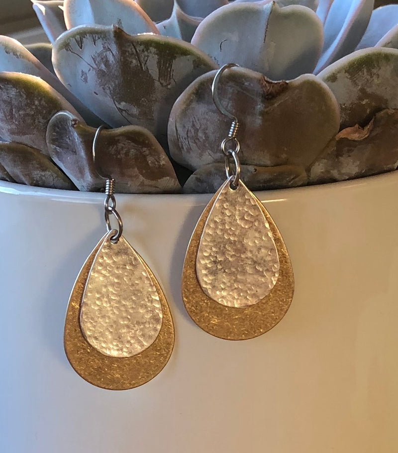 Silver & Gold Tear Drop Earrings