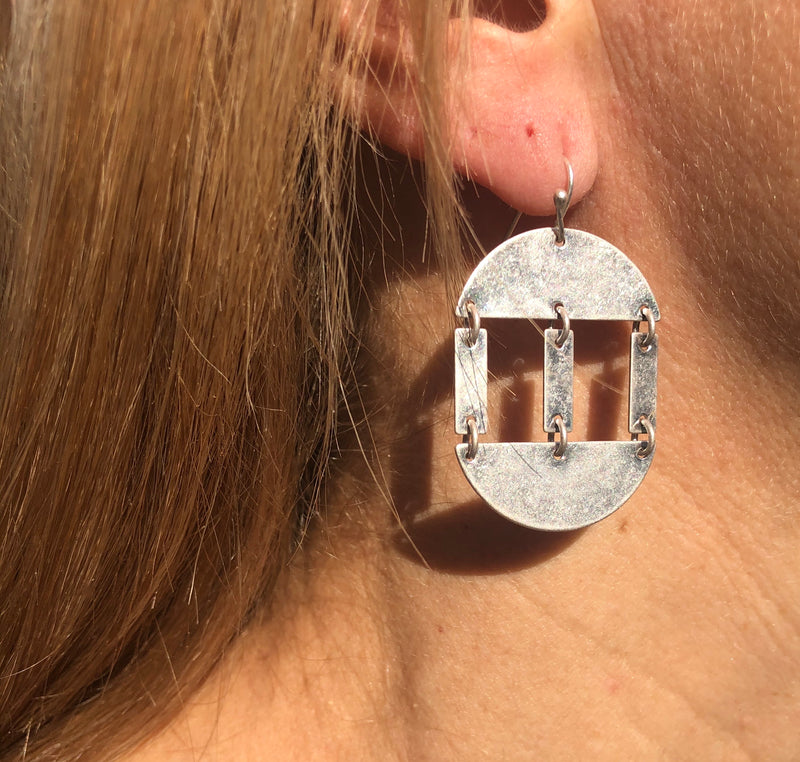 Antiqued Silver Split Circle Earrings