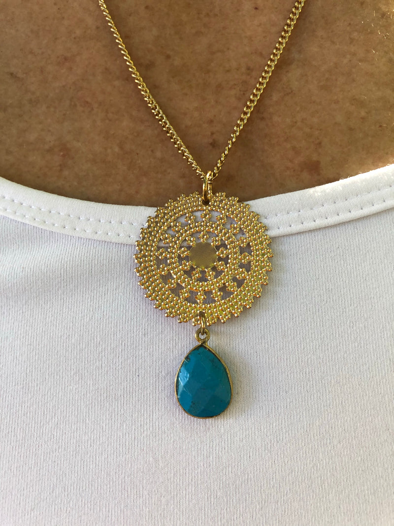 Mandala Turquoise Drop Necklace