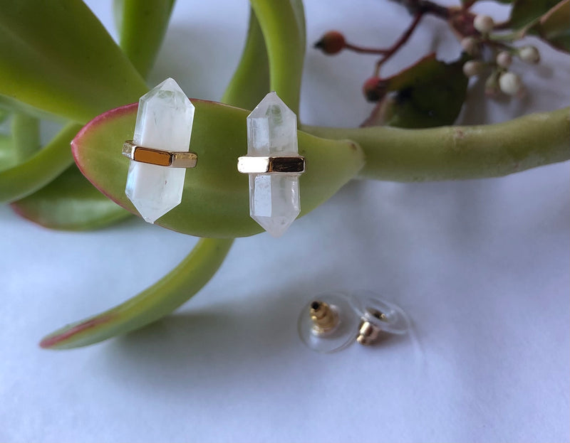 Crystal Quartz Bar Studs