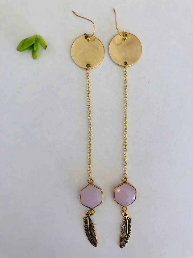 Rose Quartz & Gold Drop Feather Earrings