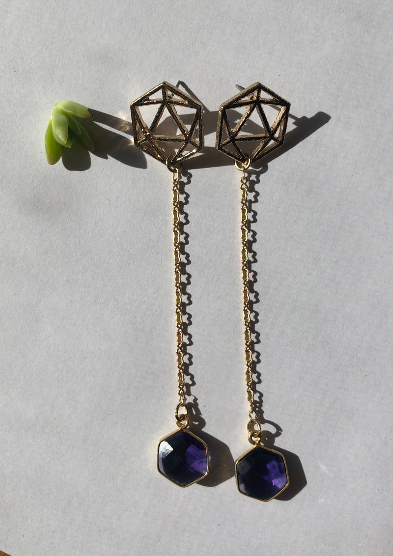 Amethyst Geo Chain Drop Earrings