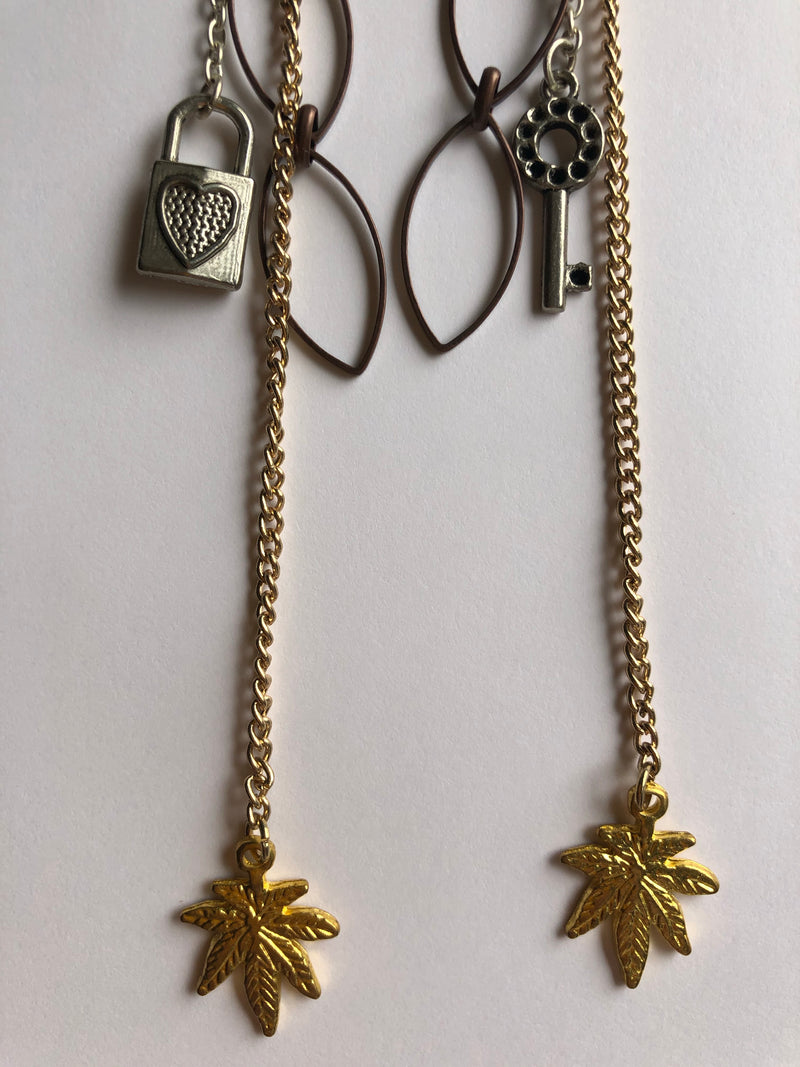 Leaf Lock & Key Double Chain Drop Earrings