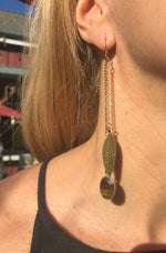Tiger's Eye & Feather Double Chain Earrings