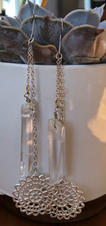Clear Quartz Crystal Drop Earrings