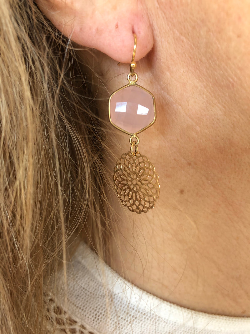 Rose quartz & gold earrings
