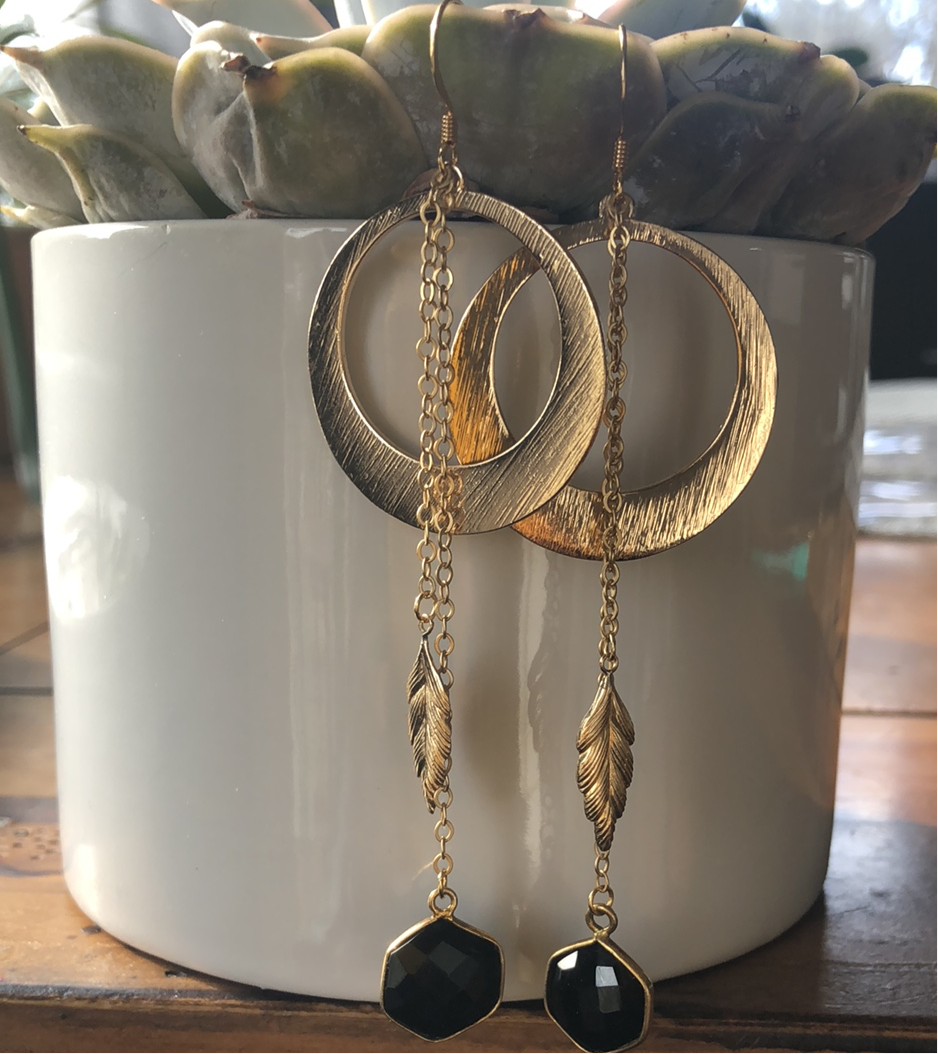 Black Onyx & Feather Hoop Drops