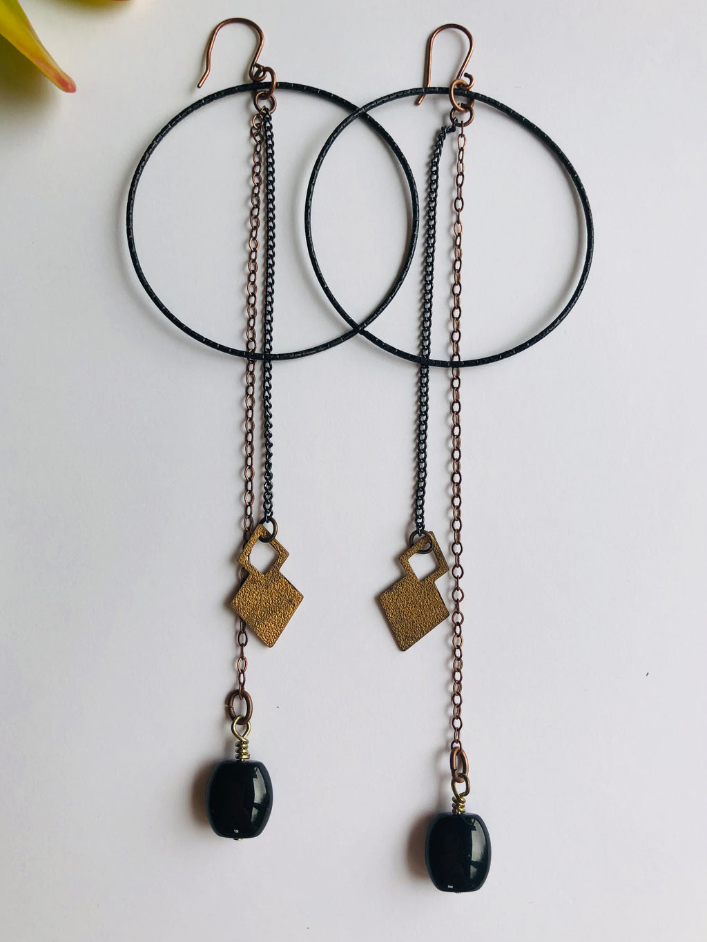 Black Onyx & Brass Double Chain Earrings