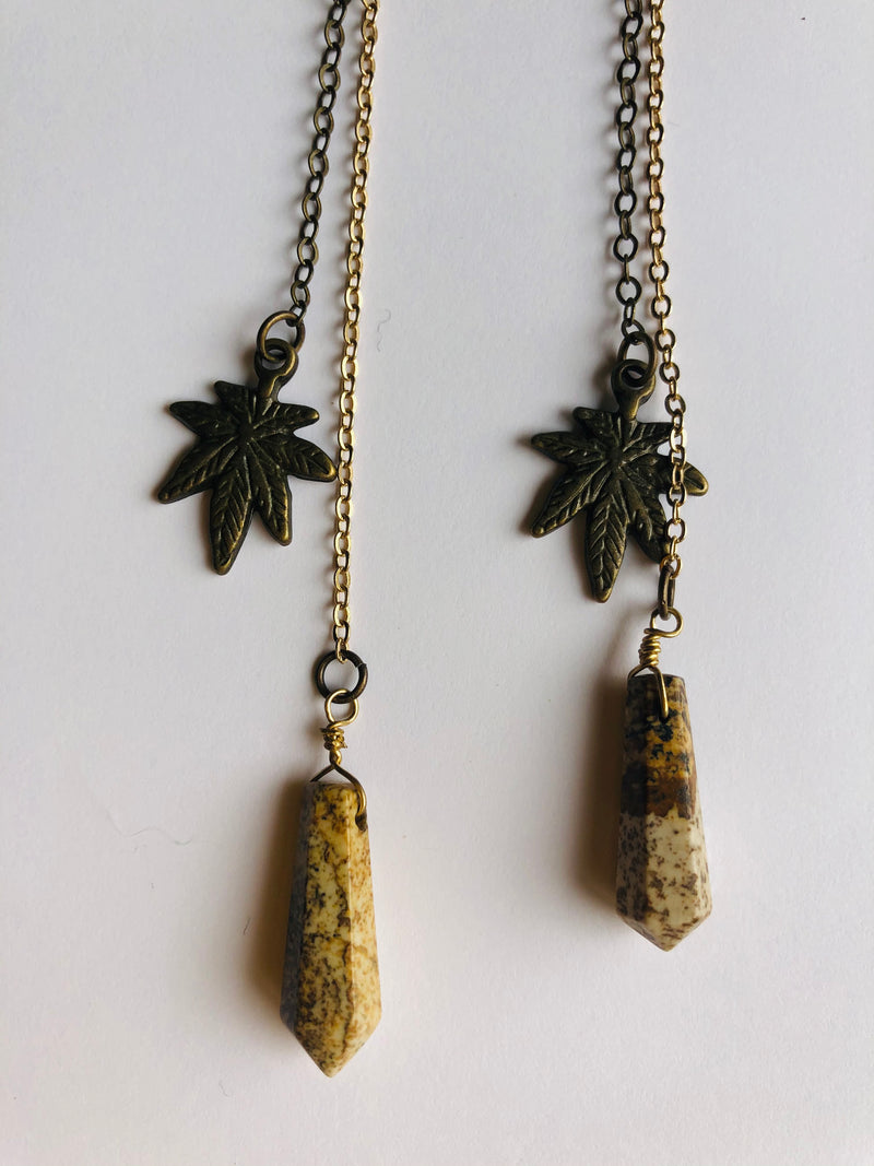 Jasper & Leaf Double Chain Drop Earrings