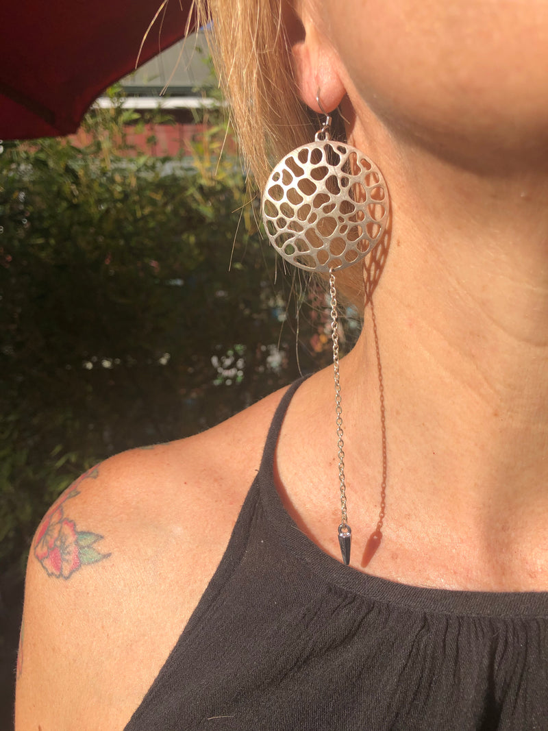 Silver Perforated Drop Chain Earrings