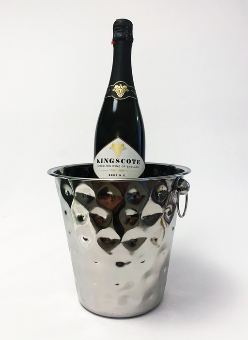 Champagne Hammered Ice Bucket with a bottle of Brut N.V.