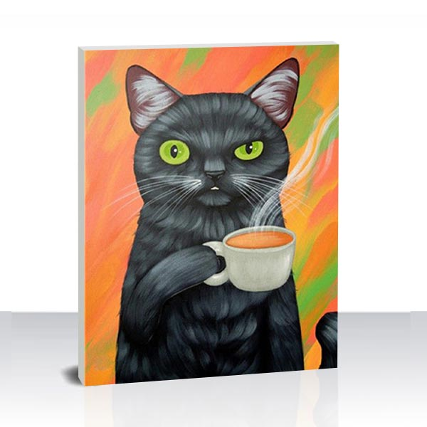Paint by Numbers Kit -A Cat Drinking Coffee